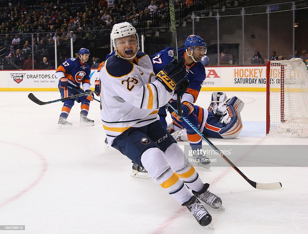 <a gi-track='captionPersonalityLinkClicked' href=/galleries/search?phrase=Sam+Reinhart&family=editorial&specificpeople=9984450 ng-click='$event.stopPropagation()'>Sam Reinhart</a> #23 of the Buffalo Sabres celebrates his goal at 13:44 of the third period against the New York Islanders at the Barclays Center on November 1, 2015 in the Brooklyn borough of New York City.