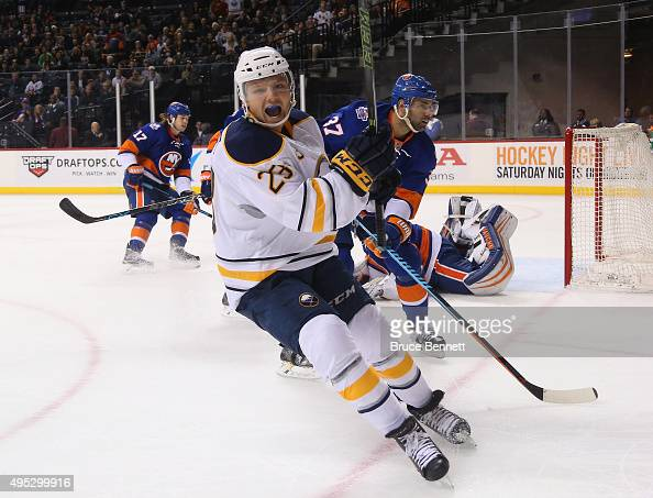 Sam Reinhart of the Buffalo Sabres celebrates his goal at 1344 of the third period against the New York Islanders at the Barclays Center on November...