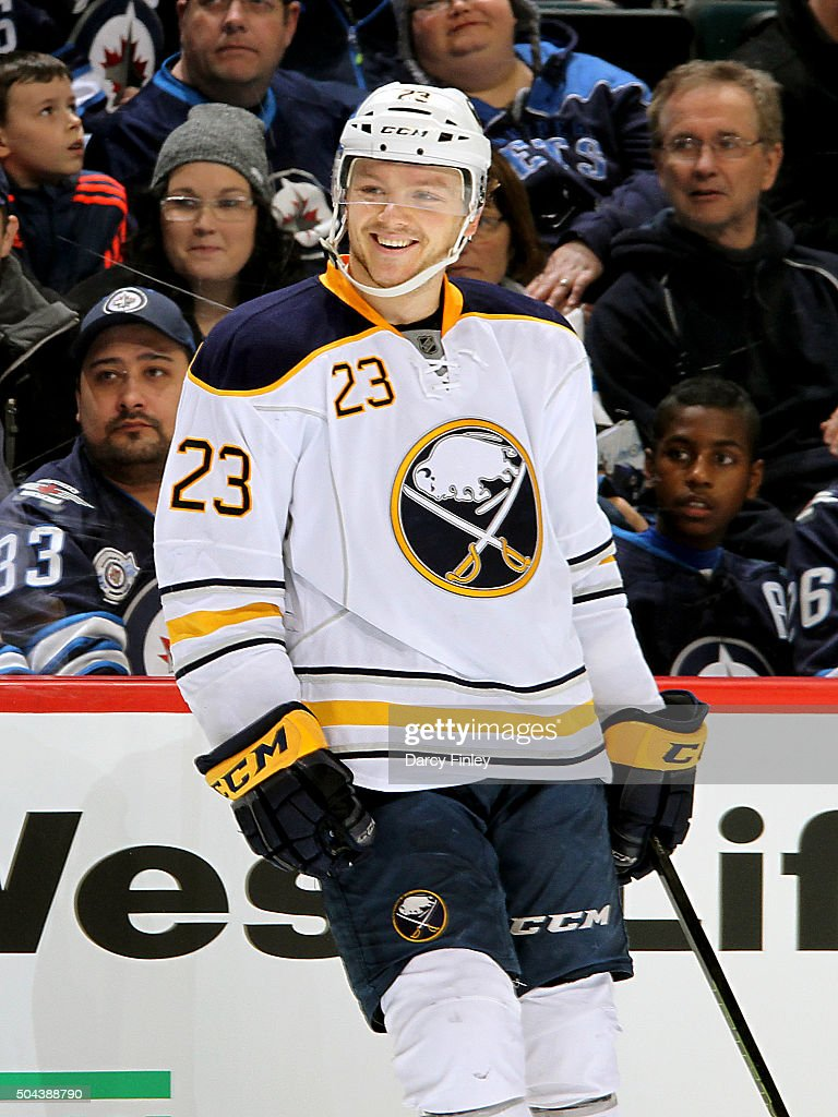 <a gi-track='captionPersonalityLinkClicked' href=/galleries/search?phrase=Sam+Reinhart&family=editorial&specificpeople=9984450 ng-click='$event.stopPropagation()'>Sam Reinhart</a> #23 of the Buffalo Sabres is all smiles after scoring an empty net goal for his first career hat trick against the Winnipeg Jets at the MTS Centre on January 10, 2016 in Winnipeg, Manitoba, Canada.