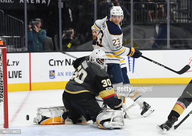 Sam Reinhart of the Buffalo Sabres scores a goal against Malcolm Subban of the Vegas Golden Knights in the third period of their game at TMobile...