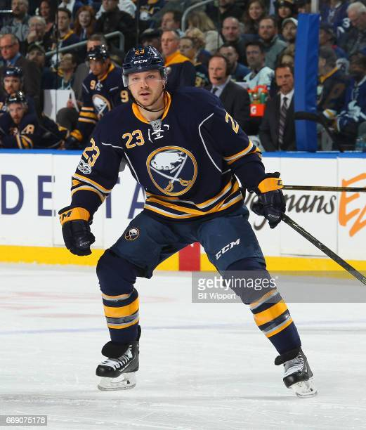 Sam Reinhart of the Buffalo Sabres skates against the Toronto Maple Leafs during an NHL game at the KeyBank Center on April 3 2017 in Buffalo New York