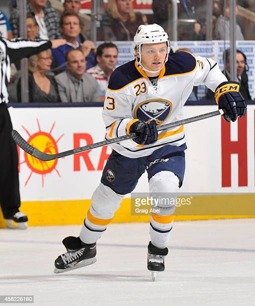 Sam Reinhart of the Buffalo Sabres skates during NHL game action against the Toronto Maple Leafs October 28 2014 at the Air Canada Centre in Toronto...