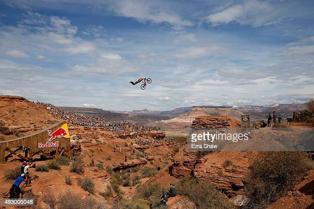 Sam Reynolds of Great Britain goes over a jump during the finals of the Red Bull Rampage on October 16 2015 in Virgin Utah The Red Bull Rampage is an...