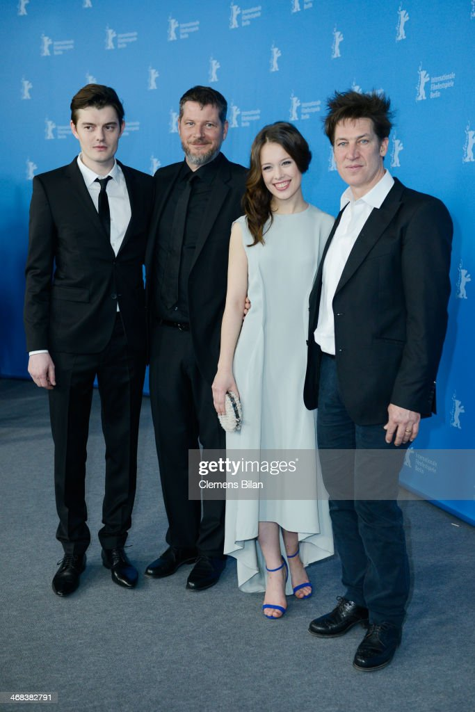 Sam Riley Andreas Prochaska Paula Beer and Tobias Moretti attend 'The Dark Valley' photocall during 64th Berlinale International Film Festival at...