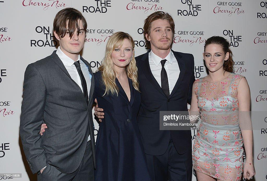 Sam Riley, Kirsten Dunst, Garrett Hedlund and Kristen Stewart attend the 'On The Road' New York Premiere at SVA Theater on December 13, 2012 in New York City.