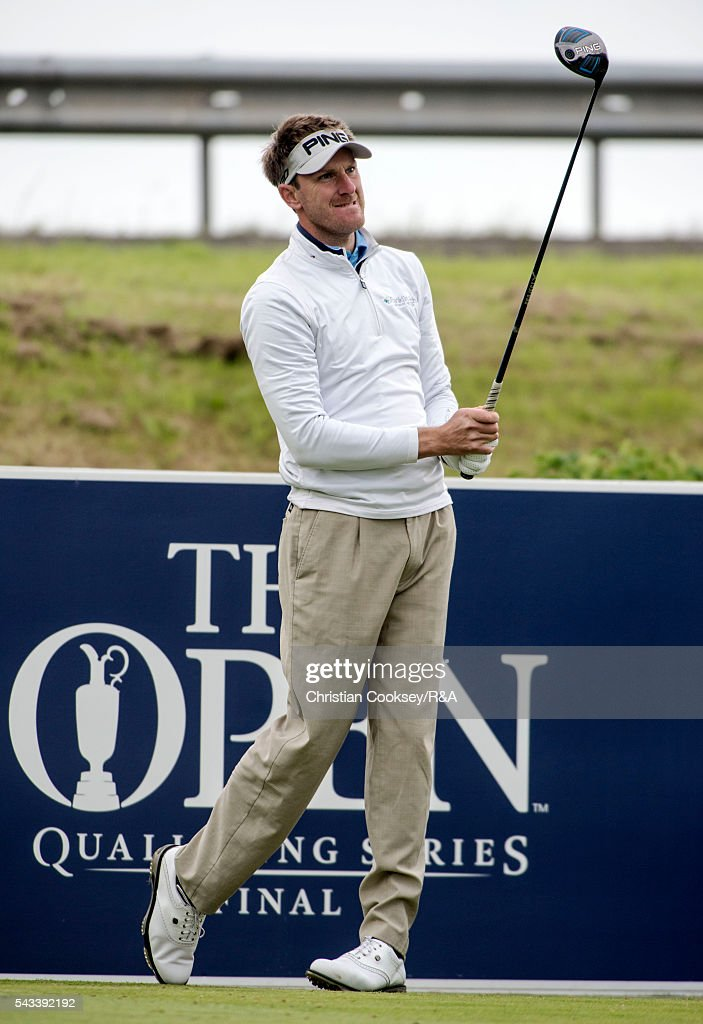 Sam Robinson of England on the 1st tee at the Open Championship Qualifying - Gailes on June 28, 2016 in Irvine Ayrshire Scotland.