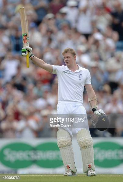 Sam Robson of England celebrates reaching his century during day two of 2nd Investec Test match between England and Sri Lanka at Headingley Cricket...