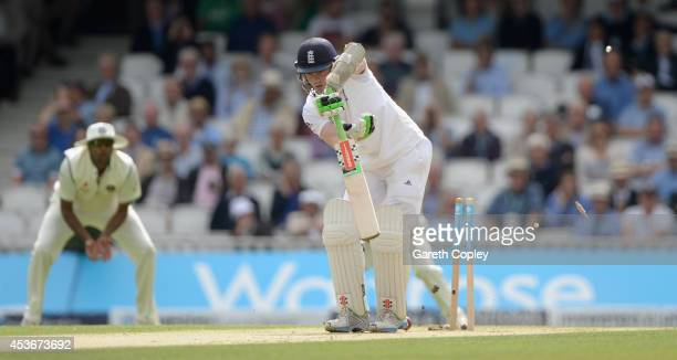 Sam Robson of England is bowled by Varun Aaron of India during day two of 5th Investec Test match between England and India at The Kia Oval on August...