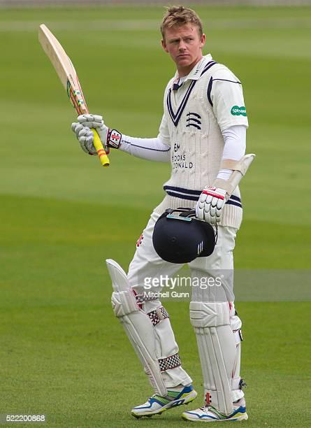 Sam Robson of Middlesex acknowledges the members applause after being dismissed for his highest first class score 231 runs during the Specsavers...
