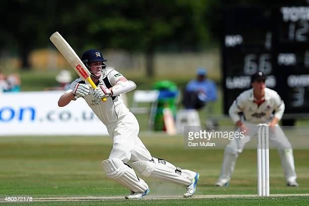 Sam Robson of Middlesex bats during day one of the LV County Championship Division One match between Middlesex and Somerset at Old Merchant Taylors'...