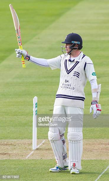 Sam Robson of Middlesex celebrates scoring 150 runs during the Specsavers County Championship match between Middlesex and Warwickshire at Lords...
