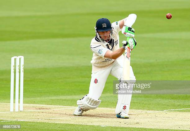 Sam Robson of Middlesex hits out during day two of the LV County Championship Division One match between Middlesex and Nottinghamshire at Lord's...
