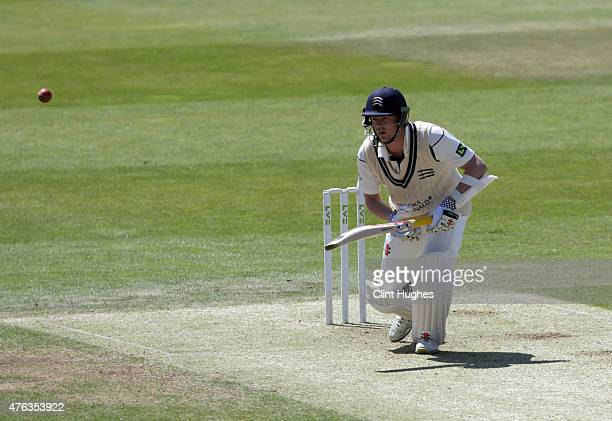 Sam Robson of Middlesex in action during day one of the LV County Championship Division One match between Yorkshire and Middlesex at Headingley on...