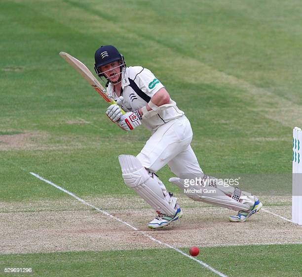 Sam Robson of Middlesex plays a shot during the Specsavers County Championship match between Middlesex and Nottinghamshire at Lords Cricket Ground on...