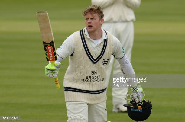 Sam Robson of Middlesex reaches his century during day one of the Specsavers County Championship Division One cricket match between Middlesex and...