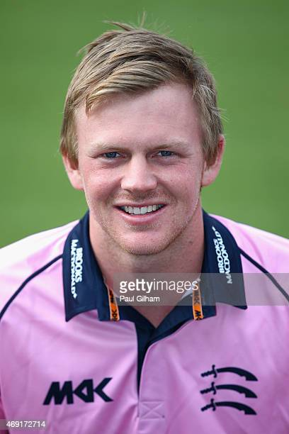 Sam Robson poses during a photcall at Lord's Cricket Ground on April 10 2015 in London England