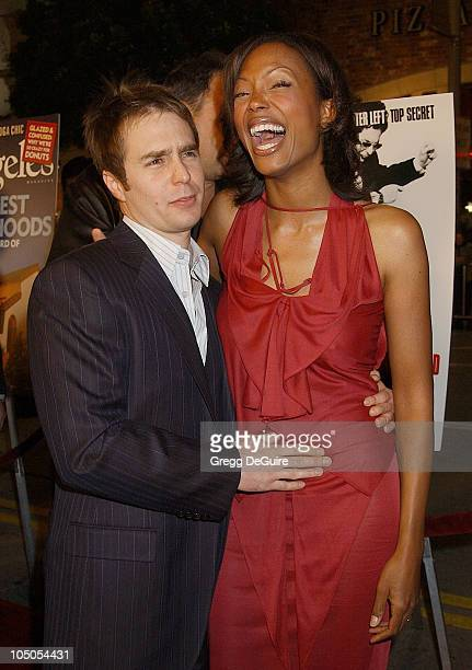 Sam Rockwell and Aisha Tyler during Los Angeles Premiere Of 'Confessions Of A Dangerous Mind' at Mann Bruin Theatre in Westwood California United...