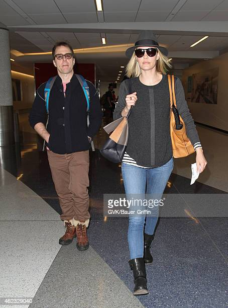 Sam Rockwell and Leslie Bibb are seen at LAX on January 26 2015 in Los Angeles California