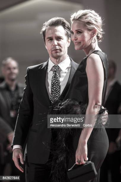 Sam Rockwell and Leslie Bibb walk the red carpet ahead of the 'Three Billboards Outside Ebbing Missouri' screening during the 74th Venice Film...