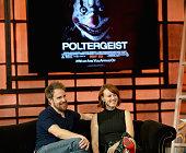 Sam Rockwell and Rosemarie DeWitt on the set of 'Uno Nuevo Dia' to promote film Poltergeist at Telemundo Studio on May 21 2015 in Miami Florida