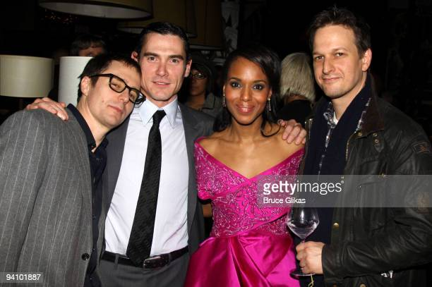 Sam Rockwell Billy Crudup Kerry Washington and Josh Charles pose at the opening night after party for 'Race' at the Redeye Grill on December 6 2009...