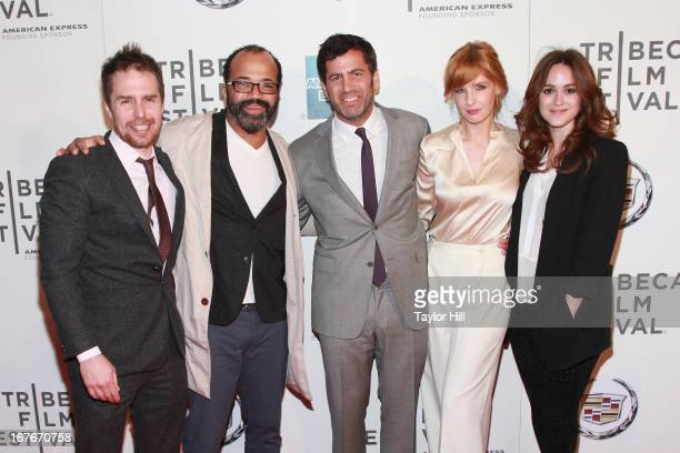 Sam Rockwell Jeffrey Wright David Rosenthal Kelly Reilly and Heather Lind attend the screening of 'A Single Shot' during the 2013 Tribeca Film...