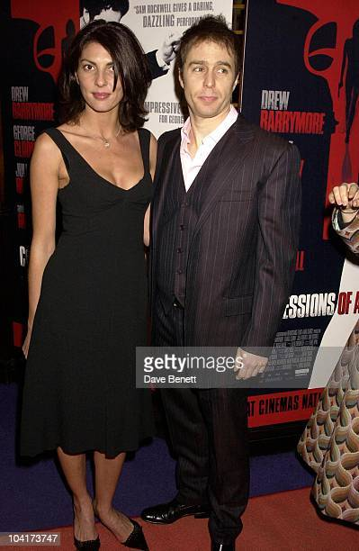 Sam Rockwell With His New Girlfriend Gina Bellman Confessions Of A Dangerous Mind The Movie That Marks The Directorial Debutpremiered In London Last...