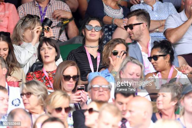 Sam Rollinson and Charli XCX attends Wimbledon 2017 as evian guests during the opening day on July 3 2017 in London England