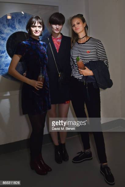 Sam Rollinson Lara Mullen and Florence Kosky attend a private view of artist Chemical X's new exhibition 'CX300' at The Vinyl Factory on September 28...