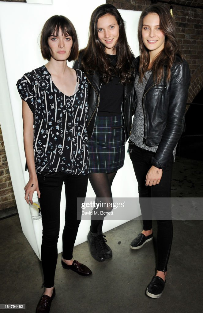Sam Rollinson, Matilda Lowther and Charlotte Wiggins attend the Burberry Brit Rhythm gig in London at Village Underground on October 16, 2013 in London, England.