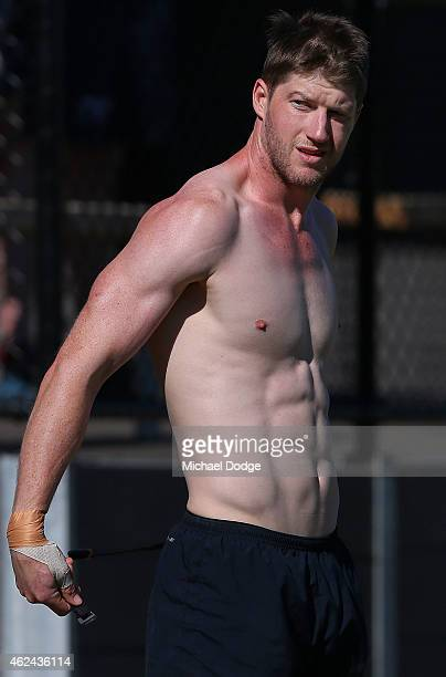 Sam Rowe gets changed during a Carlton Blues AFL preseason training sessions on January 29 2015 in Mansfield Australia
