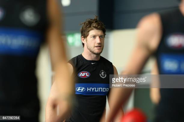 Sam Rowe looks on during a Carlton Blues AFL media opportunity at Ikon Park on March 3 2017 in Melbourne Australia