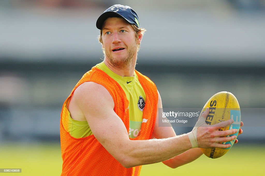 Sam Rowe of the Blues looks upfield during the Carlton Blues AFL training session at Ikon Park on June 1, 2016 in Melbourne, Australia.