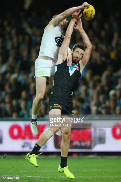 Sam Rowe of the Blues spoils Charlie Dickson of the Power during the round five AFL match between the Port Adelaide Power and thew Carlton Blues at...