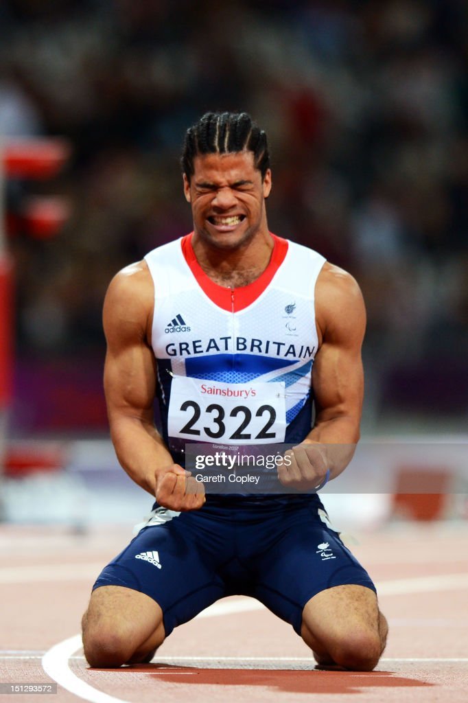 Sam Ruddock of Great Britain reacts after the Men's 200m T35 heats on day 7 of the London 2012 Paralympic Games at Olympic Stadium on September 5, 2012 in London, England.