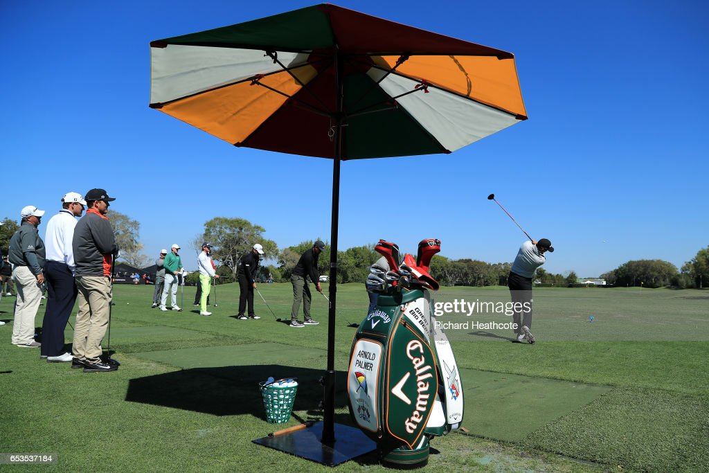 Sam Saunders (r), grandson of Arnold Palmer starts a '21 gun salute' style tribute at the opening ceremony for the Arnold Palmer Invitational Presented By MasterCard at Bay Hill on March 15, 2017 in Orlando, Florida.
