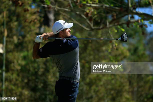 Sam Saunders hits a drive during the fourth and final round of the Webcom Tour Championship held at Atlantic Beach Country Club on October 2 2017 in...