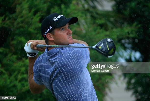 Sam Saunders hits a drive during the third round of the Webcom Tour Championship held at Atlantic Beach Country Club on September 30 2017 in Atlantic...