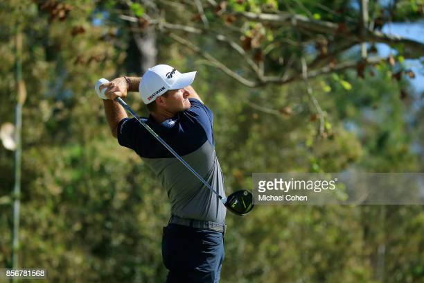 Sam Saunders hits his drive on the seventh hole during the fourth and final round of the Webcom Tour Championship held at Atlantic Beach Country Club...