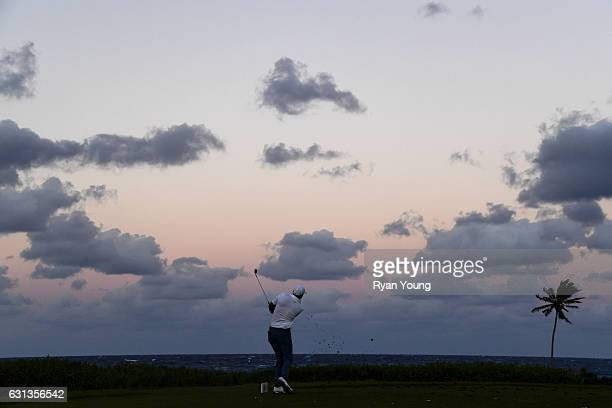 Sam Saunders tees off on the 13th hole during the second round of The Bahamas Great Exuma Classic at Sandals Emerald Bay Course on January 9 2017 in...