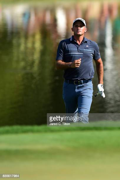 Sam Saunders walks up to the 15th green during the third round of the Wyndham Championship at Sedgefield Country Club on August 19 2017 in Greensboro...