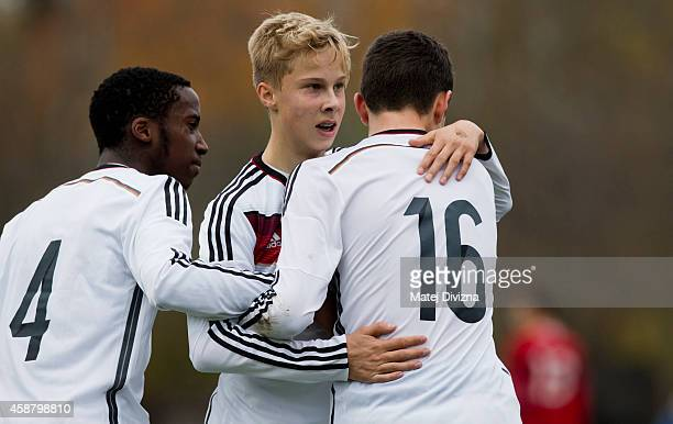 Sam Schreck of Germany celebrates his goal with teammates during the international friendly match between U16 Czech Republic and U16 Germany on...