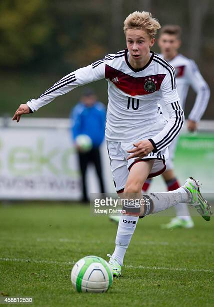 Sam Schreck of Germany in action during the international friendly match between U16 Czech Republic and U16 Germany on November 11 2014 in Prague...