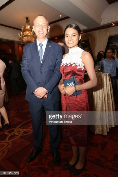 Sam Schreiner and Duangduean Vacher during the Luxembourg National Day celebration at Taj Mahal Hotel on June 23 2017 in New Delhi India The...