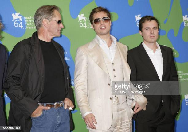 Sam Shepard Brad Pitt and Casey Affleck at a photocall for their film 'The Assassination of Jesse James By The Coward Robert Ford' at the Venice Film...