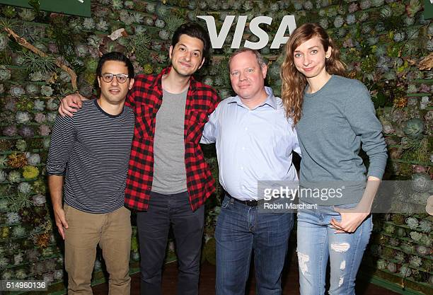 Sam Shrauger SVP of Digital Solutions at Visa joins comedians Gil Ozeri Ben Schwartz and Lauren Lapkus on stage after their performance where they...