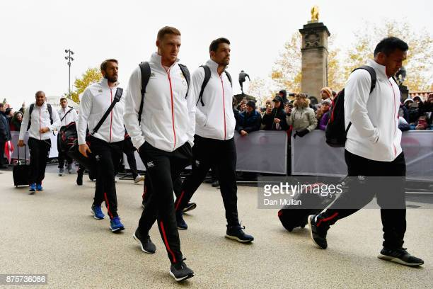 Sam Simmonds of England and Mako Vunipola of England arrive at the stadium prior to the Old Mutual Wealth Series match between England and Australia...