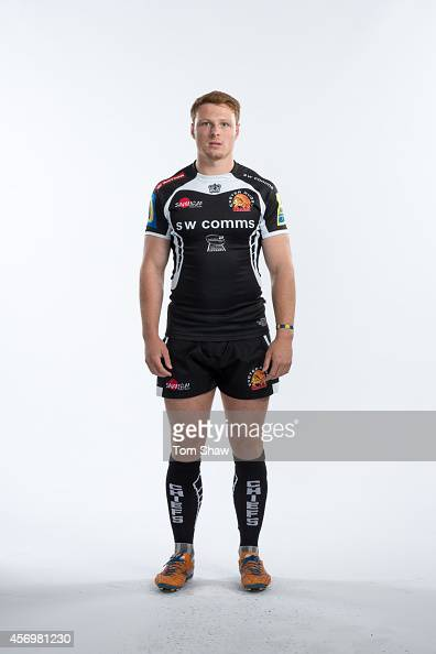 Sam Simmonds of Exeter Chiefs poses for a picture during the BT Photo Shoot at Sandy Park on August 26 2014 in Exeter England