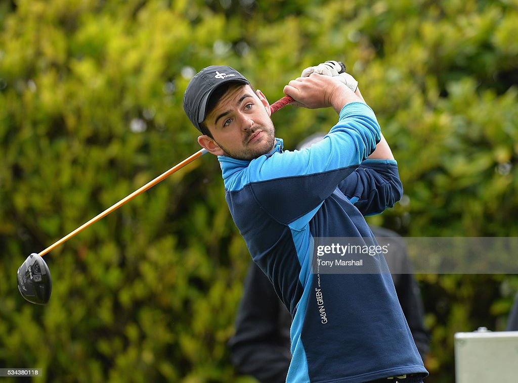 Sam Skeldon of Golfkinetix plays his first shot on the 1st tee during the PGA Assistants Championships - Midlands Qualifier at the Coventry Golf Club on May 26, 2016 in Coventry, England.