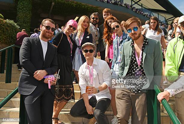 Sam Smith Amber Le Bon Laura Whitmore Alfie Allen Azim Majid Harrison Roberts Nicola Roberts Charlotte de Carle and Arthur Darvill attend the evian...